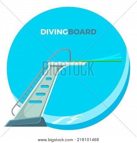 Diving board or springboard used for snorkeling linear flex-spring of the cantilever type, vector illustration logo design isolated on white background
