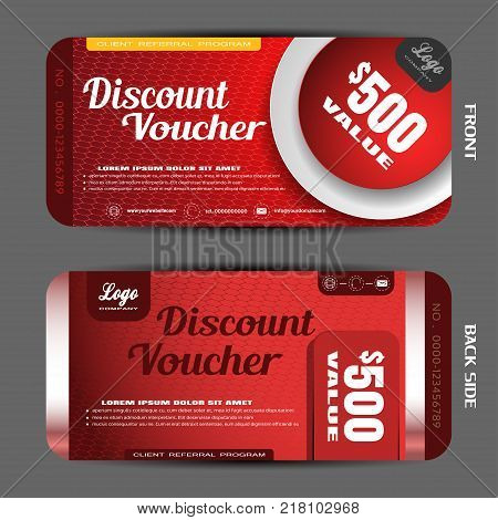 Vector discount voucher on the gradient hexagon mesh pattern and red background with round white shape cut from paper.