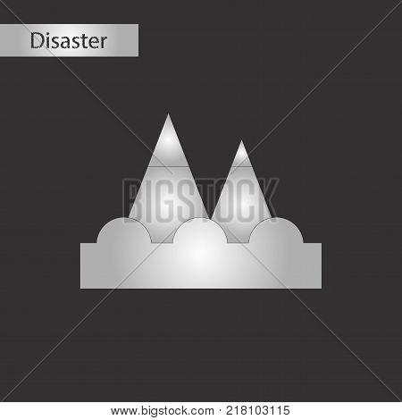 black and white style icon of tsunami mountains