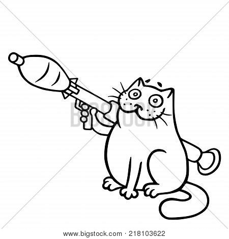The cat is holding a grenade launcher is ready for war. Cute cartoon character. Vector Illustration. White color background.