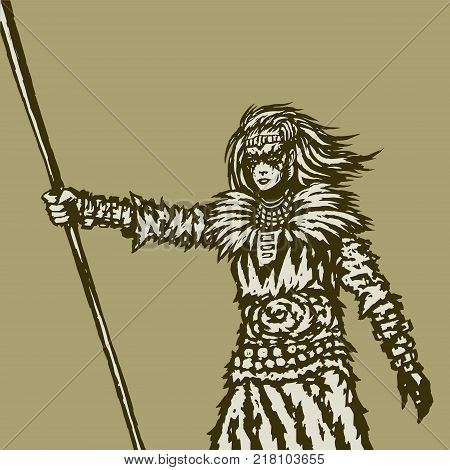 Woman warrior holds a spear in her right outstretched hand. Vector illustration. Fantasy artwork. Freehand digital drawing.