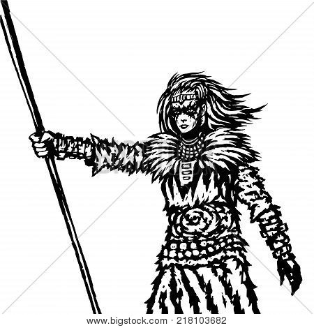 Warrior girl from a wild tribe with a spear. Vector illustration. Fantasy artwork in black and white Colors. Freehand digital drawing.