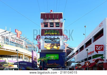 LAS VEGAS NEVADA - DECEMBER 7 2017: Slotzilla Las Vegas Zip Line. A thrill ride in the Freemont Street Experience in Downtown Las Vegas.