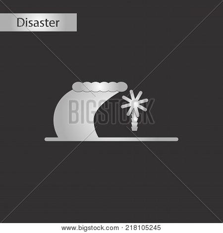 black and white style icon of tsunami Island