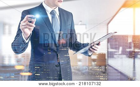 Businessman With A Glowing Marker, Office