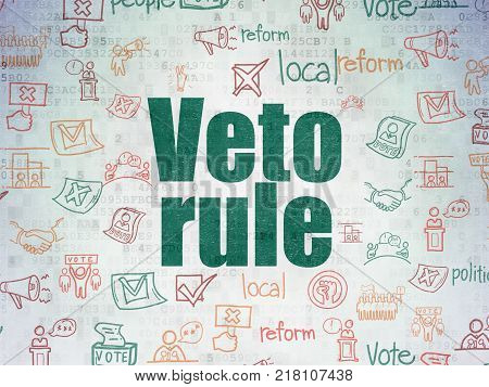 Politics concept: Painted green text Veto Rule on Digital Data Paper background with   Hand Drawn Politics Icons