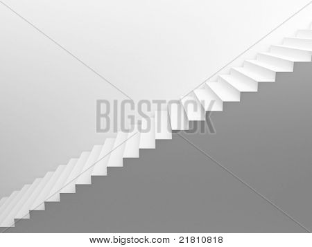 White empty stairs leading up, side view