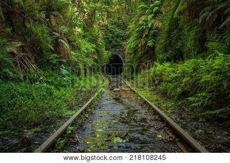 Abandoned railway line and tunnel in Helensburgh near Sydney in New South Wales, Australia