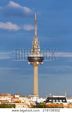 MADRID SPAIN - OCT 10 2014: Torrespana Television Tower in Madrid.