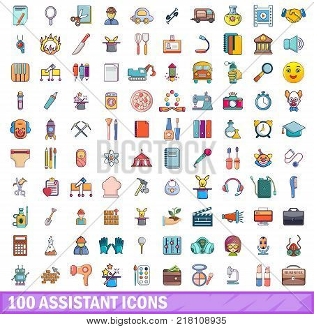 100 assistant icons set. Cartoon illustration of 100 assistant vector icons isolated on white background