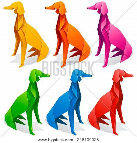 Vector origami paper dogs. Yellow red orage blue green and pink greyhound icons isolated on white background. Concept of pet shop or 2018 Chinese New Year symbol