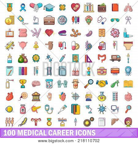 100 medical career icons set. Cartoon illustration of 100 medical career vector icons isolated on white background
