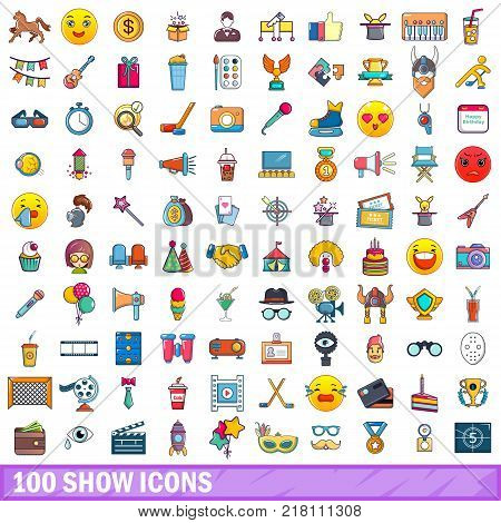 100 show icons set. Cartoon illustration of 100 show vector icons isolated on white background