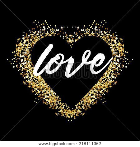 Gold glitter heart sign sparkles isolated on white background. Gold sparkles and glitter vector illustration. Design for wedding card, valentine, save the date.