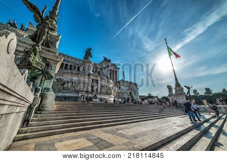 Rome Italy - October 12 2017: Sun shining over Altar of the fatherland