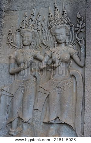 SIEM REAP CAMBODIA - OCT 17 : Ditails at the Angkor Wat Temple in Siem Reap Cambodia on October 17 2017 The Angkor Wat is an UNESCO World Herutage site since 1992
