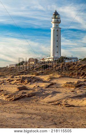 Wonderful lighthouse known as Trafalgar's lighthouse at the province of Cádiz