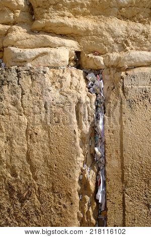 Prayers and wishes at the Western Wall (Wailing Wall) in Jerusalem Israel.