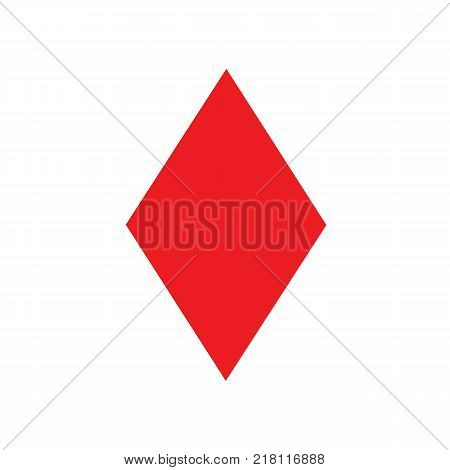 Ace of diamonds poker isolated. Ace of diamonds symbol. Vector stock.