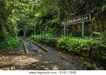 Abandoned Helensburgh Railway Station and tunnel near Sydney in New South Wales, Australia