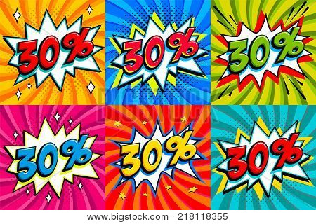 Sale set. Sale thirty percent 30 off tags on a Comics style bang shape background. Pop art comic discount promotion banners. Seasonal discounts, Black Friday, cyber monday. Vector illustration