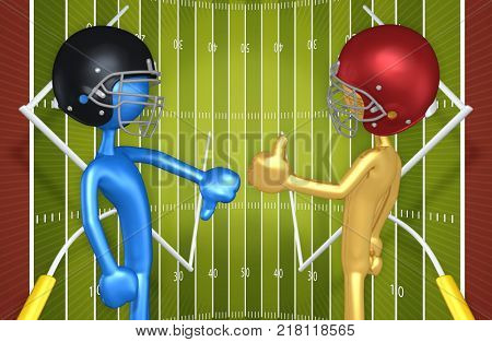 The Original 3D Characters Illustration Wearing Football Helmets Thumbs Up Thumbs Down