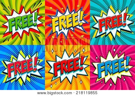 Free - Comic book style stickers. Free banners in pop art comic style. Color summer banners in pop art style Ideal for web. Decorative backgrounds with bomb explosive. Vector illustration.