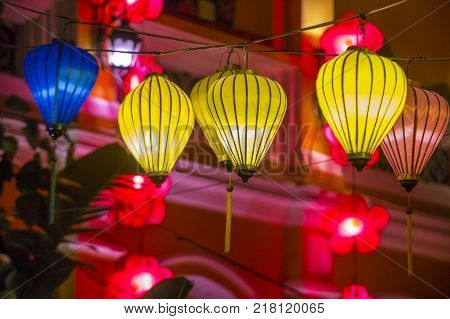 HOI AN VIETNAM - OCT 04 : Paper lanterns lighted up on the streets of Hoi An Vietnam during the Hoi An Full Moon Lantern Festival on October 04 2017