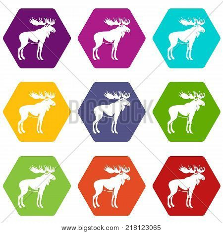 Moose icon set many color hexahedron isolated on white vector illustration