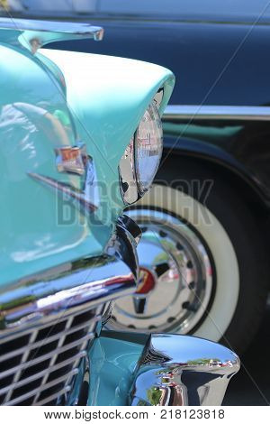 SANTA FE, NEW MEXICO, JULY 4. The Plaza on July 4, 2017, in Santa Fe, New Mexico. A Detail Shot from a Vintage Car Show a Tradition on the Fourth of July in Santa Fe New Mexico.