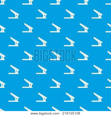 Office paper hole puncher pattern repeat seamless in blue color for any design. Vector geometric illustration