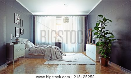 modern bedroom with  classic  swedish stove. 3d concept rendering