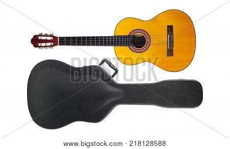 Musical instrument - Acoustic classic guitar hard case isolated on a white background.