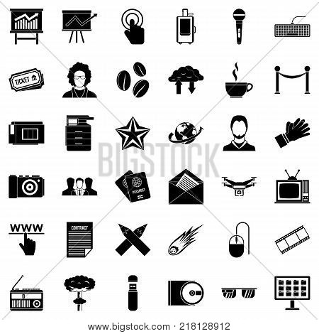 Broadcasting icons set. Simple style of 36 broadcasting vector icons for web isolated on white background