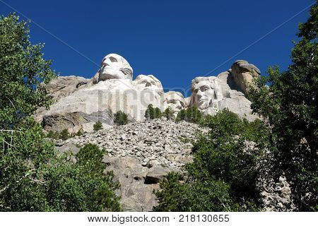 Mount Rushmore National Memorial. View of the four presidents, carved in stone by Gutzon Borglum, in the Black Hills of South Dakota.