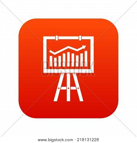 Flipchart with marketing data icon digital red for any design isolated on white vector illustration