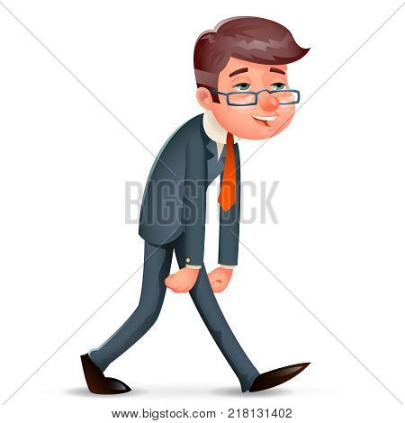 Fatigue Pleased Happy Satisfied Tired Weary Businessman Walk Design Cartoon Character Vector Illustration