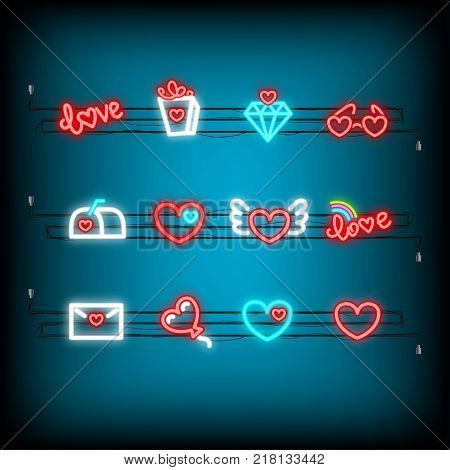 Glass, gift, mail, balloon. Neon happy Valentine's Day set icon. Valentine lamp romance heart collection shape. Red color vector light. Nightclub bulb dark brick wall. Holiday love greeting icons.