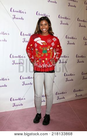 LOS ANGELES - DEC 10:  Aliyah Moulden at the Chandler's Friends Toy Drive & Wrapping Party  at Los Angeles Ballet Academy on December 10, 2017 in Los Angeles, CA
