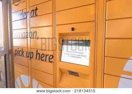 Amazon Locker At Whole Foods Store Entrance In Houston, Texas, Usa