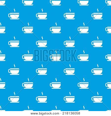 Tea cup and saucer pattern repeat seamless in blue color for any design. Vector geometric illustration