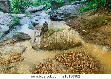 Bamni water fall water flowing through rocks Purulia West Bengal India