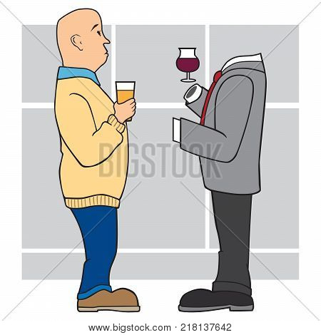 Two cartoon businessmen at a cocktail party having a conversation and one is just an empty suit