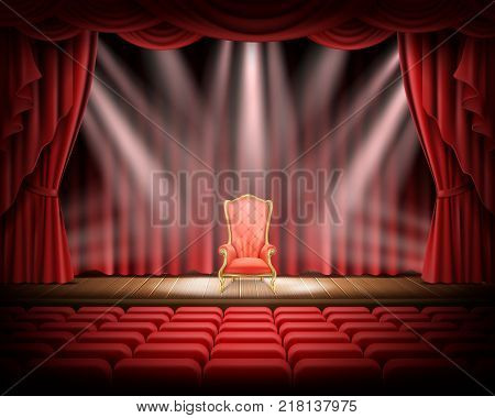 Open red curtain and illuminated theatrical stage with red vintage chair standing on it, realistic vector. Grand opening concept, performance or event premiere poster, announcement banner template