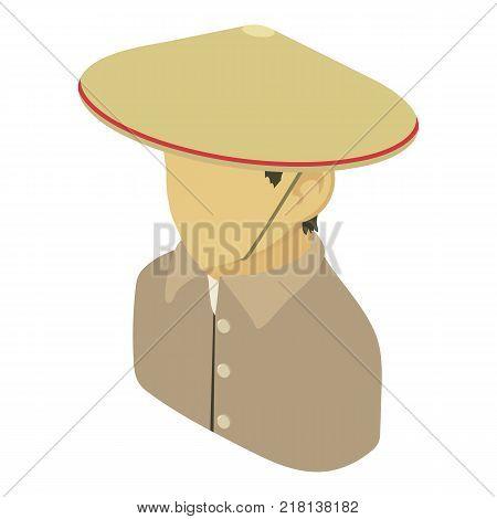Farmer man asian icon. Isometric illustration of farmer man asian vector icon for web