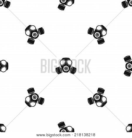 Chemical gas mask pattern repeat seamless in black color for any design. Vector geometric illustration