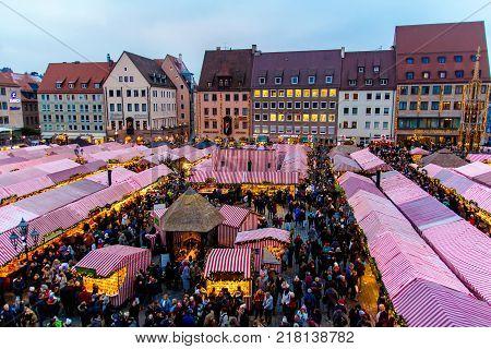 NUREMBERG - GERMANY - DECEMBER 2 2017: View of the Christkindlesmarkt the famous Christmas market in Nuremberg