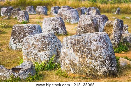Archaeological landscape The Plain of jars. Laos