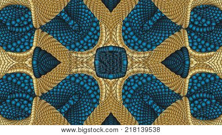 Gold and blue abstract symmetric backgrounds is computer graphics and can be used in the design of textiles in the printing industry in a variety of design projects