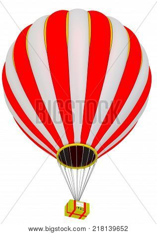 The yellow parcel box flies in a hot air balloon. Isolated. 3D Illustration